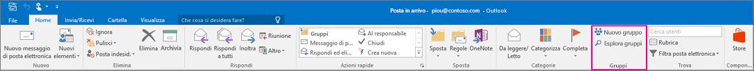 Opzioni di Gruppi sulla barra multifunzione di Outlook