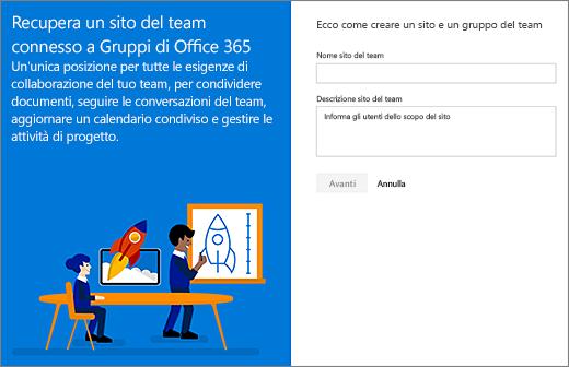 Prima finestra di dialogo di creazione sito dell'interfaccia moderna