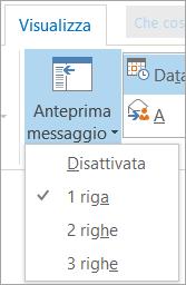 Opzioni di Anteprima messaggio nella scheda Visualizza