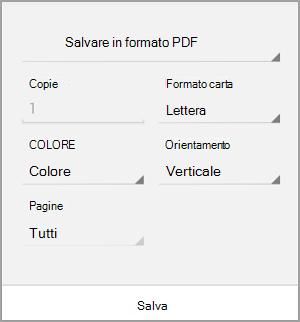 Salvataggio in formato PDF