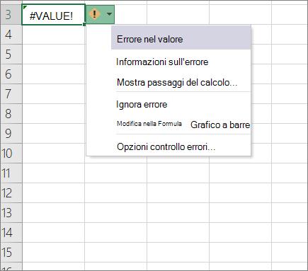 Elenco a discesa visualizzato accanto all'icona del valore di traccia