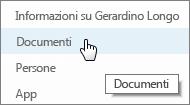 Selezionare documenti dal sito personale