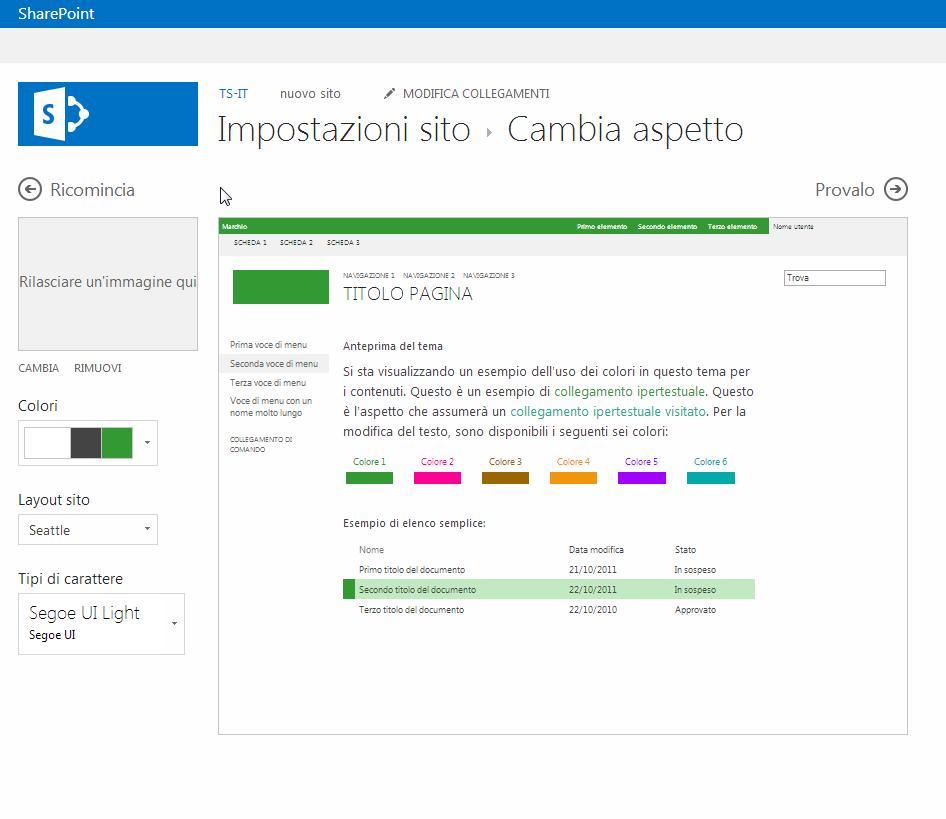 Cambiare il colore, il layout e il tema di un sito di pubblicazione di SharePoint