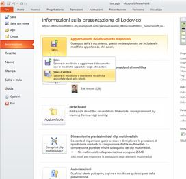 La scheda File consente di verificare se altri autori hanno apportato modifiche alla presentazione