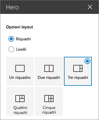 Opzioni layout Hero