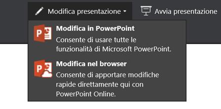 Modifica presentazione per scegliere la modifica nel browser