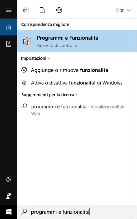 Aprire il menu Start e digitare Programmi e funzionalità