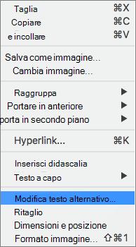 Opzione Testo alternativo nel menu di scelta rapida in Word