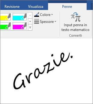 Esempio di parole scritte con input penna in un documento di Word
