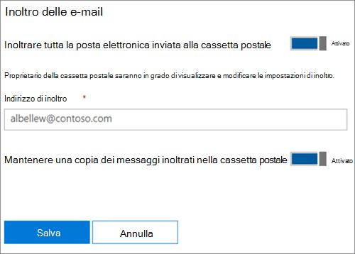 Screenshot: Immettere indirizzo di posta elettronica di inoltro
