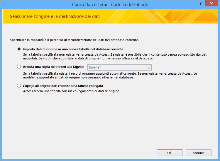 Selezionare questa opzione per importare, accodare o creare un collegamento a una cartella di Outlook.