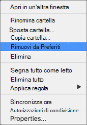 Opzione Rimuovi da Preferiti nel menu di scelta rapida