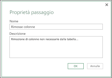 Power Query - Descrizione dei passi di query nell'Editor di query