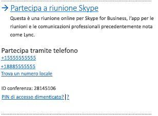 Interfaccia utente per partecipare a una riunione di Skype