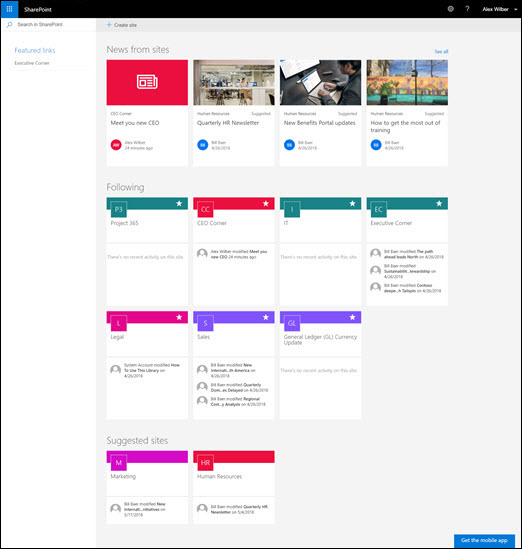 Home page di SharePoint