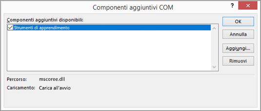 Gestire: Componenti aggiuntivi COM