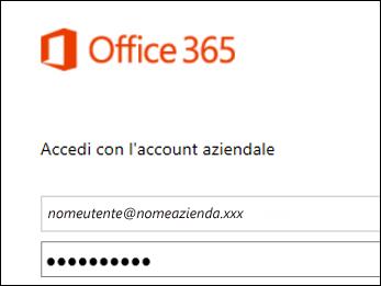 Schermata di accesso al portale Office 365
