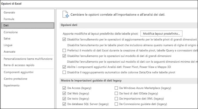 Opzioni di dati sono state spostate da File > Opzioni > avanzate sezione in una nuova scheda denominata dati in File > Opzioni.