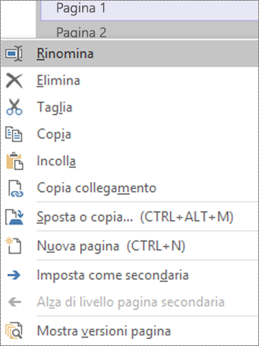 Finestra di dialogo Rinomina pagina in OneNote per Windows