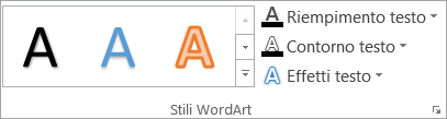 Gruppo Stili WordArt