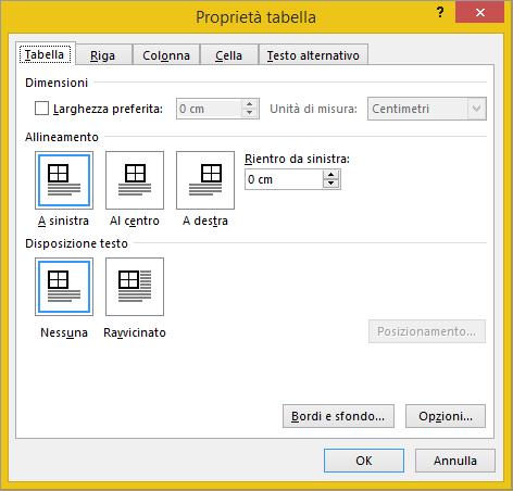 Scheda della tabella nella finestra di dialogo Proprietà tabella