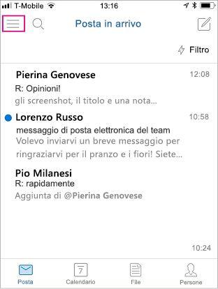 Schermata iniziale di Outlook Mobile con il pulsante del menu evidenziato