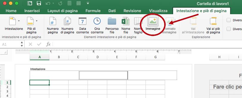 Opzione Immagine nella scheda Intestazione e piè di pagina sulla barra multifunzione