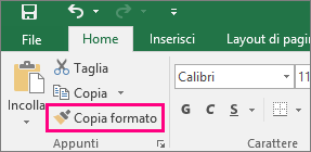 Pulsante Copia formato in Excel