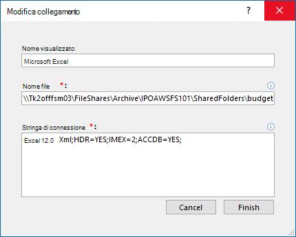 Modificare la finestra di dialogo collegamento per un'origine dati di Excel