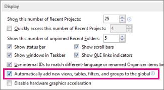 """Opzione """"Aggiungi automaticamente nuovi filtri, visualizzazioni, tabelle e gruppi al modello globale"""""""