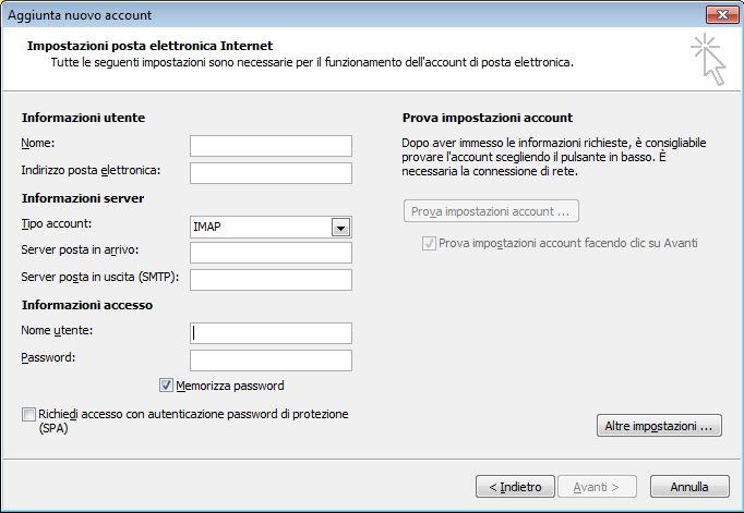 Impostazioni di posta elettronica Internet di Outlook 2010