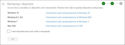 Screenshot della schermata Rest Devices nel sito Web di OneDrive