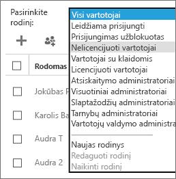 Nell'elenco Selezionare una visualizzazione selezionare la visualizzazione degli utenti senza licenza.
