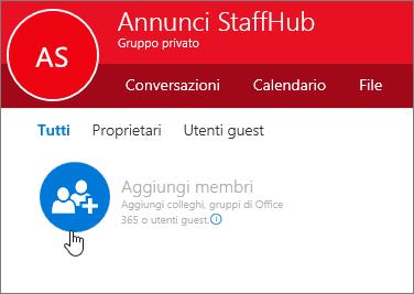 Aggiungere membri a un gruppo StaffHub in Outlook.
