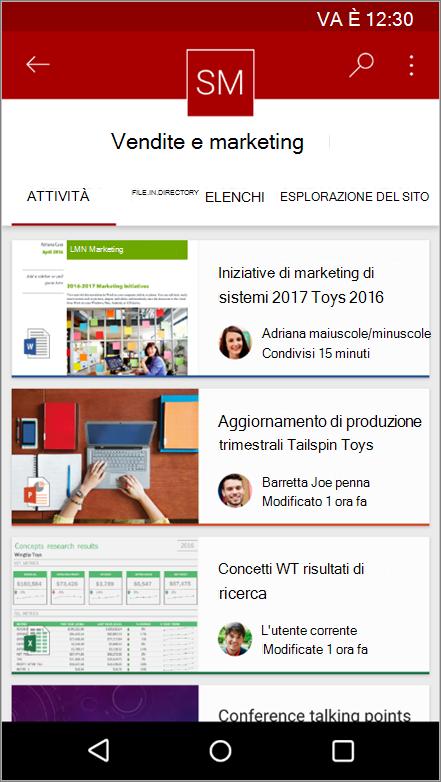 Schermata dell'app per dispositivi mobili Android con struttura di spostamento, file, elenchi e dell'attività del sito