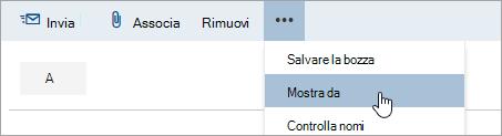 Screenshot che mostra l'opzione Mostra da