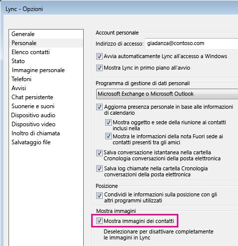 Schermata delle opzioni di Lync con selezionate Personale e Mostra immagini dei contatti