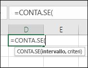 Sintassi della formula come testo visualizzato al passaggio del mouse