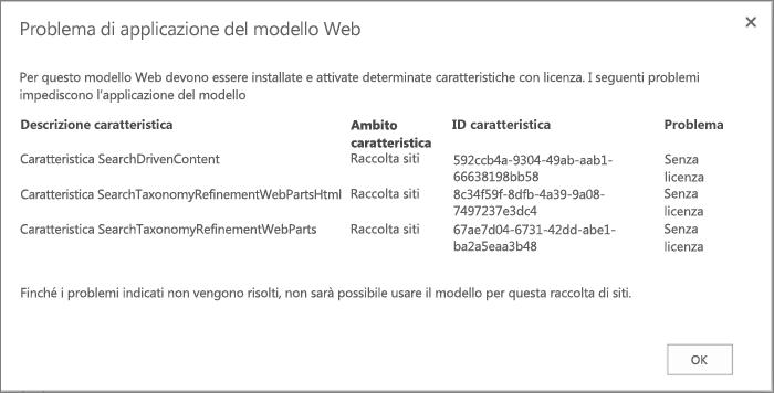 Screenshot di un messaggio di errore che potrebbe essere visualizzato se una o più caratteristiche non disponibili impediscono la creazione di un sito in SharePoint Online.