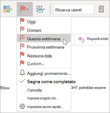 Contrassegno di un messaggio per il completamento in Outlook