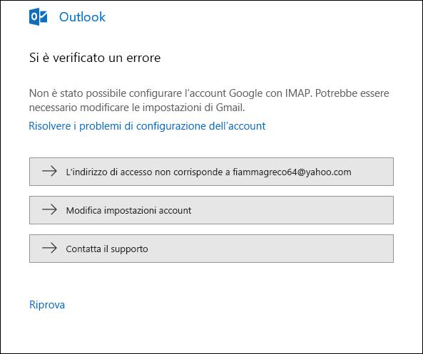 Si è verificato un problema nell'aggiunta di un account di posta elettronica a Outlook.