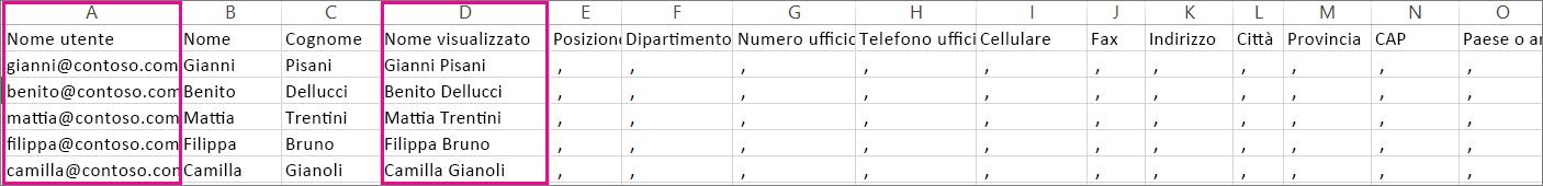 Esempio di file CSV per cui sono state specificate righe vuote