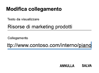 Finestra di dialogo testo collegamento ipertestuale di Outlook per Android