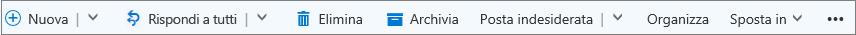 Barra dei comandi di Outlook.com visualizzata quando si seleziona un messaggio