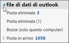 Per aprire il file di dati di Outlook, fare clic sulla freccia accanto al file.