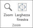 Gruppo Zoom della scheda Visualizza