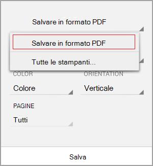 Selezionare Salva come PDF