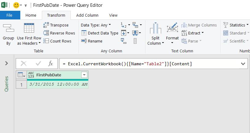 Dati della tabella di Excel caricati nell'editor di Power query