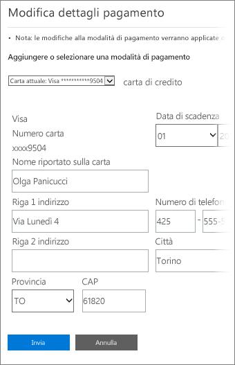 Pagina Dettagli pagamento per aggiornare le informazioni sulla carta di credito.