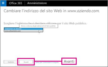 Scegliere l'indirizzo del sito Web e quindi Avanti